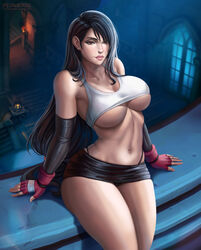 1girls big_breasts breasts bursting_breasts cleavage elbow_gloves female female_only final_fantasy final_fantasy_vii flowerxl large_breasts looking_at_viewer solo thick_thighs tifa_lockhart underboob
