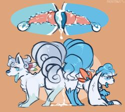 2girls 3_toes all_fours alolan_vulpix alternate_color ass blue_blush blue_nose blue_paws blue_tongue canine_dildo cumlube dildo double_dildo dripping duo ears_down ears_up female female_only feral feral_on_feral furry internal interspecies legendary_pokémon long_ears looking_pleasured markings multi_tail nintendo one_leg_up open_mouth original_character pocketpaws pokémon_(species) pokemon pokemon_sm raised_leg raised_tail sex_toy shaymin shaymin_(sky_form) short_ears sketch snout socks_(marking) toes video_games vulpix yuri