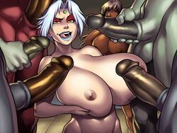 angry barefoot big_breasts big_penis dark-skinned_female dark_skin gangbang huge_ass huge_breasts laquadia_(legend_of_queen_opala) legend_of_queen_opala moaning naughty_face osira seductive seductive_smile silver_hair smile swegabe thick_thighs yellow_eyes