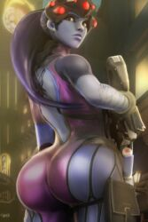 3d_(artwork) ass big_ass blizzard_entertainment blue_skin brown_eyes clothed dat_ass female female_only huge_ass large_ass looking_back overwatch overweight purple_hair raikovjaba solo solo_female tight_clothing weapon widowmaker