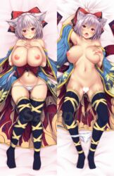 animal_ear_fluff animal_ears arm_up armpits ass bangs bare_shoulders bed_sheet black_legwear blue_kimono blush bow breasts censored commentary_request dakimakura ebi_193 eyebrows_visible_through_hair female hair_between_eyes hairbow hands_on_own_chest heart heart_censor highres huge_breasts japanese_clothes kimono leg_ribbon long_sleeves looking_at_viewer lying multiple_views navel nipples no_shoes off_shoulder on_back open_mouth original panties panties_around_one_leg parted_lips red_bow red_eyes ribbon sample short_hair silver_hair stomach thighhighs thighs tongue tongue_out underwear watermark white_panties wide_sleeves wolf_ears yellow_ribbon