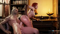3d animated areolae ass audiodude blender breasts erection female from_behind geralt_of_rivia male niodreth nipples panties panties_aside penetration penis pussy sex sound straight the_witcher triss_merigold vaginal_penetration webm