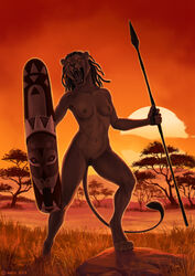 2019 5_fingers anisis anthro breasts day digital_media_(artwork) digitigrade felid female grass holding_object holding_weapon lion mammal melee_weapon navel nipples nude open_mouth outside pantherine polearm pussy rock sky solo spear standing sun teeth tongue weapon