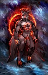 2019 abs balls canid canine cheetahpaws claws detailed_background fan_character fire front_view fur grey_fur male male_only mammal muscular muscular_male navel pecs penis solo solo_male