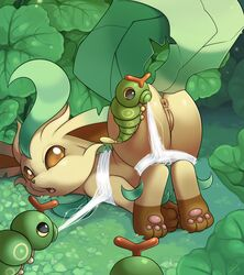 1girls 2019 ambiguous_gender anus ass ass_up bondage bound brown_eyes brown_fur canine caterpie eeveelution feet female feral furry hybrid insect larger_female leaf leafeon nintendo nude outdoors paws plant pokémon_(species) pokemon pokemon_dppt pokemon_rgby pussy raised_tail size_difference slimefur tail text thick_thighs video_games watermark web wide_hips