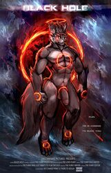 2019 abs canid canine cheetahpaws claws detailed_background english_text fan_character fire front_view fur grey_fur male male_only mammal muscular muscular_male navel pecs penis solo solo_male text