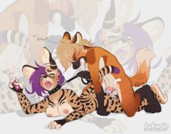 2019 anthro asphyxiation balls blush breasts canid canine choking closed_eyes collar controller cum digital_media_(artwork) dipstick_tail drooling duo ear_piercing felid feline female fur green_eyes hair kuro_murasaki leash loke lukurio male male/female mammal maned_wolf moan multicolored_tail nipples nude open_mouth panting penetration penis piercing purple_hair remote_control saliva serval sex sex_toy simple_background spots spotted_fur tomboy tongue vibrator