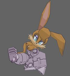 2019 3d anthro areolae breasts brown_nipples bunnie_rabbot edit hotred is_(artist) large_breasts looking_at_viewer mechanical_arm rabbit sonic_(series) sonic_satam third-party_edit topless