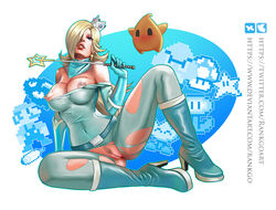 areolae big_breasts blonde_hair boots breasts clothing crown exposed_breasts exposed_pussy hair long_hair luma nintendo nipples princess princess_rosalina pussy rankgo super_mario_bros. super_mario_galaxy video_games