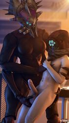 3d 4_arms alien alien_girl atsuko_(artist) ball_fondling balls big_balls big_breasts big_penis blender clothed_female_nude_male destiny_(game) faceless_female faceless_male fallen fallen_captain helmet human_on_alien larger_female male male/female multiple_arms penis size_difference smaller_male standing straight
