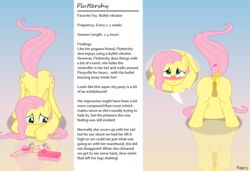 anatomically_correct anatomically_correct_pussy animal_genitalia animal_pussy ass ass_up biting_lip blush clitoral clitoral_winking clitoris closed_eyes comic culu-bluebeaver cutie_mark edit english_text equid equine equine_pussy female feral fluttershy_(mlp) friendship_is_magic hi_res looking_pleasured mammal masturbation my_little_pony nude orgasm pose presenting presenting_hindquarters pterippus pussy pussy_juice sex_toy simple_background solo text thelaughingkitsune toying_self vibrator wings