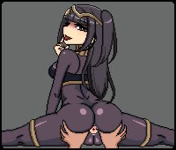 animated anus ass ass_shake black_hair bodystocking bouncing_breasts breasts brown_eyes cameltoe erowolf fire_emblem fire_emblem:_kakusei intelligent_systems jewelry lips lowres nintendo pixel_art spread_anus spread_ass tharja tharja_(fire_emblem) thighs tiara tongue twintails uncensored