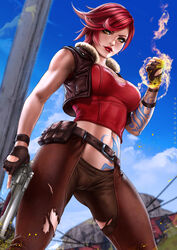 1girls borderlands breasts cleavage dandon_fuga female female_only lilith_(borderlands) looking_at_viewer solo