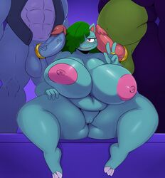 1girls 2boys 3_toes 4_fingers abs areolae big_belly big_breasts blue_skin blush breasts carracosta chubby claws cock_ring digital_media_(artwork) eyelashes feet female feraligatr green_hair green_skin hair_over_one_eye hand_on_leg hi_res huge_ass huge_breasts huge_penis knot large_areola large_testicles leaf looking_at_viewer male muscular muscular_male nintendo nipples no_humans open_mouth original_character overweight overweight_female penis penis_on_face plant pokemon pokemon_rgby purple_skin pussy red_eyes ring scalie sitting smile source_request spread_legs spreading sssonic2 standing straight testicles thick_thighs tongue v veins veiny_penis venusaur