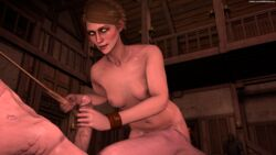 1boy 1girl 1girls 3d breasts candle erection female geralt_of_rivia glowing_eyes green_eyes green_hair handjob holding_object holding_penis holding_weapon legs lit_candle medium_hair navel nipples nude penis rosa_var_attre scar scars selfmindsources shiny shiny_skin sitting smirk source_filmmaker sweat sword the_witcher the_witcher_3:_wild_hunt twitter_username
