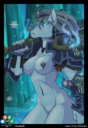 armor azaleesh blizzard_entertainment breasts canid canine canis female hi_res ice mammal nipples piercing salori video_games warcraft weapon were werecanid werecanine werewolf wolf worgen