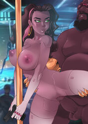 breasts brown_hair cyberpunk disney esmeralda female from_behind green_eyes gun large_breasts long_hair male nipples penis pussy sex standing standing_sex the_hunchback_of_notre_dame tinkerbomb vaginal_penetration weapon