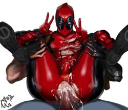 2boys 5_fingers abs amputee anal anal_sex anus artist_request ass bara boots cable_(marvel) color cum cum_in_ass cum_inside cum_on_ass cum_on_self cum_on_upper_body cumshot cyborg deadpool digital_media_(artwork) duo erection full_nelson full_nelson_anal gay holster human latex latex_suit male male/male male_focus male_only male_penetrating marvel marvel_comics mask masked not_furry orgasm pale-skinned_male pale_skin peace_symbol pecs penis plain_background riding ripped_clothing sex sitting size_difference solo_focus superhero torn_clothes torn_clothing uncensored v_sign vein white_background yaoi