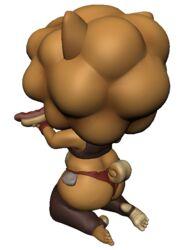 3d afro alpha_channel anthro barefoot bubble_butt bulge canine chubby curled_tail cute daisy_dukes dat_ass deep_navel fangs feet food hot_dog huge_thighs innuendo model on_knees pakobutt soles switch_(pakobutt) tank_top teapot thighhighs toeless_footwear toes wide_hips wink wristband