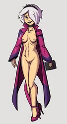 ben_10 ben_10_(2016) breasts charmcaster dragonsmasher high_heels jacket lipstick nipples nude_with_jacket pussy