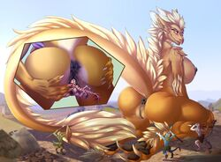 2019 anthro anus big_breasts breasts claws close-up domination dragon feathers female female_domination female_pred fluffy fluffy_tail forced group helaviskrew kneeling larger_female looking_back macro orange_eyes outside pussy_juice savanna scales scalie sitting size_difference smile smirk stomping unbirthing vaginal_penetration village vore weapon yellow_feathers yellow_scales
