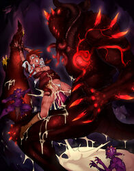 big_dom_small_sub claws comic demon female green_eyes hell horns interpsecies monster optionaltypo red_hair size_difference torn_clothes