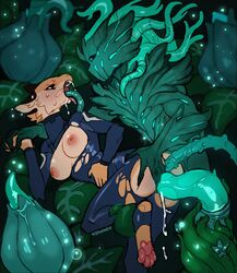 2019 ahe_gao anal anal_sex anal_stretching anthro anus areola ass blue_eyes blush breasts brown_fur butt_grab canid canine clothed clothing curvaceous deep_throat digital_media_(artwork) double_penetration double_vaginal drooling dryad duo evie_(nox) exposed eye_contact female finger_fuck fingering from_behind from_behind_(disambiguation) fur glowing hand_holding hand_on_butt hands_on_belly hi_res inner_ear_fluff interspecies leg_grab looking_at_another looking_pleasured mammal moan monster multiple_insertions nipples nox_(artist) open_mouth oral partially_clothed pawpads penetration pink_areola pink_nipples pink_pawpads plant ponytail pussy pussy_juice saliva sex signature slimy sweat tan_fur tan_inner_ear tentacle torn_clothes torn_clothing triple_penetration vaginal_penetration weapon
