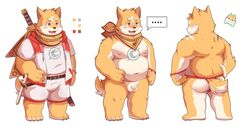 2018 anthro ass balls belly blush bulge canid canine canis clothing domestic_dog dwzaafi english_text flaccid fundoshi hi_res humanoid_hands humanoid_penis japanese_clothing male mammal melee_weapon moobs navel nipples penis shirt shorts simple_background slightly_chubby solo sword text topwear underwear weapon white_background