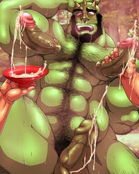 1orc 3boys abs arm_hair bald balls beard black_hair blush body_hair bowl censored chest_hair cum detailed_background drooling ejaculation erection facial_hair foreskin green_skin hairy hairy_legs hand_on_head handjob hitenmaru horns human lactation looking_pleasured male male_lactation male_only milk milk_squirt milking mosaic_censoring muscular open_mouth orc outdoors pecs penis penis_nipples pubic_hair small_horns snot sweat treasure_trail veiny_penis what