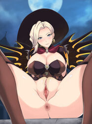 alternate_costume anus arm_support arms_at_sides ass black_headwear blonde_hair blue_eyes blush breasts brooch brown_dress brown_gloves brown_legwear bursting_breasts cape capelet cleavage closed_mouth cloud cloudy_sky dress earrings elbow_gloves female gem gloves halloween halloween_costume hat head_tilt house jewelry knees_up labia large_breasts looking_at_viewer mechanical_wings mercy_(overwatch) night night_sky overwatch pink_lips presenting pussy red_cape short_sleeves sitting skin_tight sky smile solo spread_legs spread_wings star star_(sky) starry_sky thighhighs thighs uncensored weapon wings witch witch_hat witch_mercy zetxsuna