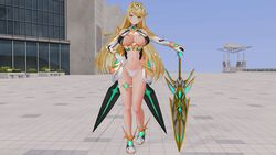 3d blonde_hair boots breasts custom_maid_3d_2 elbow_gloves gloves hikari_(xenoblade_2) holding holding_sword holding_weapon large_breasts long_hair nintendo nipples panties standing sword thigh_strap tyrving underwear very_long_hair weapon xenoblade_(series) xenoblade_2 yellow_eyes
