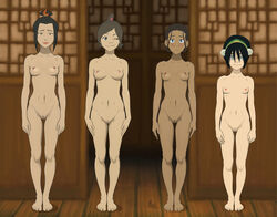 anaxus avatar_the_last_airbender azula barefoot black_hair blind blush breasts brown_hair embarrassed female katara long_hair looking_at_viewer multiple_girls naked nipples ponytail pussy room short_hair size_comparison smiling toph_bei_fong ty_lee wink
