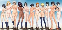 artist_request bbc big_breasts big_cock big_penis bleach blonde_hair bracelet braid dark-skinned_futanari dark_hair dark_skin flaccid flaccid_penis foreskin futa_only futanari glasses huge_balls huge_cock huge_penis inoue_orihime ise_nanao kotetsu_isane kotetsu_kiyone kuchiki_rukia kurotsuchi_nemu lineup long_hair long_penis looking_at_viewer matsumoto_rangiku ocean orange_hair penis penis_size_difference ponytail red_hair sand sandals shiba_kuukaku shihouin_yoruichi short_hair silver_hair small_breasts small_penis small_waist socks soifon tattoo thick_penis uncut unohana_retsu