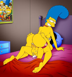 anus ass back balls bed big_ass black_eyes blue_hair breasts colette_choisez cowgirl_position crossover cum cum_in_pussy cum_inside ejaculation erection feet female grabbing hand_on_ass huge_ass human insertion looking_at_viewer looking_back lying male marge_simpson milf naruto naruto_shippuden ninja nipples nude penetration penis photo pussy red_eyes sex sharingan smile the_simpsons uchiha_itachi vagina vaginal_penetration wet