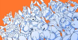 2019 anthro assisted_exposure big_breasts breasts buckteeth bunny_bloom busty_bunny camel_toe cheek_tuft chest_tuft cleavage clenched_teeth closed_eyes clothed clothing ears_down egg elbow_tufts exposed_breasts eyewear female female/female furafterdark glasses group hair hair_over_eyes hand_on_hip hat headgear headwear holding_object las_lindas long_hair madame_senoura max_blackrabbit maxine_blackbunny monochrome nipple_outline nipples open_mouth open_shirt open_smile panties ponytail pussy school_uniform shirt short_hair simple_background skirt smile surprise taffy_(las_lindas) tantrum_bunny teeth topwear translucent translucent_hair tuft underwear uniform vaginal_penetration webcomic yardstick