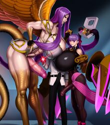 1boy 2futas abs aka6 big_breasts big_penis bimbo bow breasts bulge chain_leash cleavage collar donut eating erection fate/extra_ccc fate_(series) fujimaru_ritsuka_(male) futa_is_bigger futa_with_male futanari gorgon_(fate) huge_ass huge_breasts huge_cock huge_penis large_penis leash moaning muscles muscular muscular_female muscular_futanari pantyhose passion_lip penis penis_size_difference penis_under_clothes purple_hair shield size_difference smile tail thick_thighs tight_clothing wings