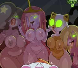 2019 absurd_res adventure_time anthro areola bangs big_breasts biped black_nose blonde_hair breasts cake_the_cat candy cartoon_network clothing crown domestic_cat drooling english_text equid felid feline felis female feral fionna_the_human_girl food food_creature freckles front_view fur glowing glowing_eyes goo_creature goo_hair green_eyes group hair hair_over_eye hat headgear headwear hi_res horn humanoid lady_rainicorn light_fur living_candy long_hair long_tongue lumpy_space_denizen lumpy_space_princess mammal mostly_nudewide_hips mouse multicolored_fur murid murine navel nipples noseless nude on_glass open_mouth open_smile orange_areola orange_nipples pale_fur pink_hair pink_skin pink_tongue princess_bubblegum pussy rodent royalty saliva science_(adventure_time) slightly_chubby smile somescrub spots spotted_fur standing text thick_lips tiara tongue tongue_out two_tone_fur unicorn white_fur yellow_fur