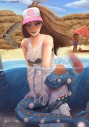 1boy 1girls ambiguous_gender beach beach_umbrella black_eyes blue_eyes blue_scales bra breasts brown_hair bubble cleavage clothed clothing coiling dark-skinned_male dark_skin duo female feral glistening hair hat headgear headwear hi_res hilda_(pokemon) human human_focus huntail interspecies larger_female looking_down male mammal nintendo open_mouth panties pants_down partially_clothed partially_submerged pokéball pokémon_(species) pokemon pokemon_bw pokemon_rse rock sand scales seaside shirt shorts size_difference stairs sudkampsin text topwear underboob underwear url video_games water watermark wet wet_clothing wet_shirt white_clothing worried