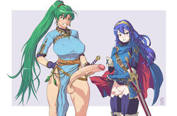 2futas artist_request belt blue_eyes blue_hair blush breasts cape clenched_teeth dress earrings erect_nipples erect_nipples_under_clothes erection fingerless_gloves fire_emblem futa_only futa_with_futa futanari gloves green_eyes green_hair hair_ornament highres huge_cock jewelry large_breasts long_hair lucina lyndis_(fire_emblem) multiple_girls nintendo nipples nopan penis penis_size_comparison penis_size_difference penis_under_clothes ponytail precum simple_background skirt skirt_lift small_breasts small_penis small_penis_humiliation smile source_request sword teeth testicles thick_thighs tied_hair veins veiny_penis weapon