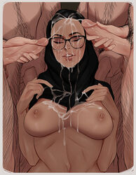 1girls 3boys areolae breasts bruh bruhsoundeffect2 bukkake cherry-gig closed_eyes cum cum_on_breasts cum_on_face cum_on_glasses facial female glasses hijab male masturbation multiple_boys multiple_penises nipples nude penile_masturbation penis penis_grab pubic_hair