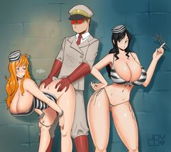 ass black_hair breasts butt_crack buttjob joylewds nami nico_robin one_piece orange_eyes orange_hair
