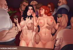 2girls 6+boys 8boys absurd_res areolae beard big_breasts black_hair blonde_hair breasts clothing facial_hair female fizzz hair hand_on_breast highres long_hair male multiple_boys multiple_girls nipples nude pussy red_hair the_witcher triss_merigold video_games yennefer