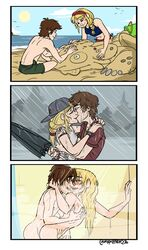 astrid_hofferson canon_couple chromosomefarm hiccup how_to_train_your_dragon rain shower swimsuit