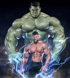 2boys abs avengers bara gay green_skin hulk lightning male male_only marvel muscle muscular six_pack size_difference superhero thor yaoi
