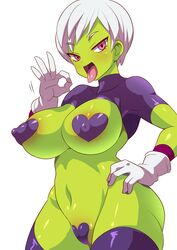 1girls alien alternate_outfit alternate_version_available belly big_breasts bimbo blush breasts cameltoe cheelai cleavage clothed clothes curvy dragon_ball dragon_ball_super dragon_ball_super_broly erect_nipples female female_only gloves green_skin half-closed_eyes hand_on_hips heart_pasties huge_areolae huge_ass huge_breasts konno_tohiro large_breasts looking_at_viewer navel open_mouth pasties pink_hair puffy_nipples sexually_suggestive short_hair skin_tight solo standing thick_thighs thighhighs tongue tongue_out voluptuous white_background white_hair wide_hips