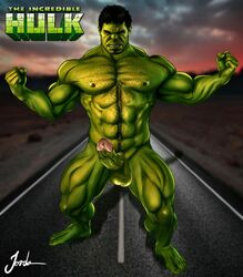 abs angry erection flex green_penis green_skin hairy_chest hulk hulk_(series) jorden_arts male male_only marvel muscles muscular muscular_male outdoors penis pinup poster six_pack solo superhero title_drop