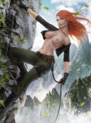 breasts climbing female female_only green_eyes highres human kim_possible kimberly_ann_possible large_breasts long_hair looking_at_viewer navel nipples no_bra open_clothes orange_hair solo topless zarory