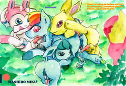 absurd_res eeveelution friendship_is_magic glaceon hi_res jolteon mashiromiku my_little_pony nintendo pokémon_(species) pokemon rainbow_dash_(mlp) sylveon video_games