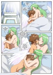 1boy 1girls age_difference angel brown_hair comic dialogue fanfiction goddess gold green_hair highres hot_spring inusen kid_icarus kid_icarus_uprising long_hair nintendo nude palutena pit sex short_hair tagme wings