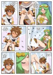 1boy 1girls 2d age_difference angel angel_wings anklet armwear blue_eyes brown_hair comic crown dialogue fanfiction feet feet_sniff foot foot_fetish foot_massage foot_worship goddess gold green_eyes green_hair highres inusen kid_icarus kid_icarus_uprising long_hair massage medallion nintendo not_furry palutena pink_toenails pit short_hair smell tagme wings